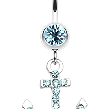 Anchor Glass-Gem Sparkle Belly Button Ring