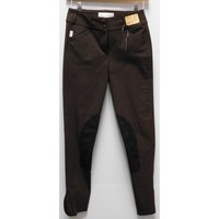 TS 1964 Brown w/Black Knee Patch Mid-Rise Side Zip Breech