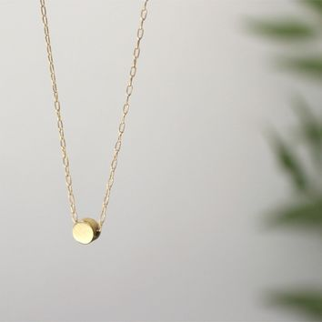 Round Dot Sun Circle Drop Solitaire Disk Disc Gold Pendant Necklace - Delicate Simple Modern Minimalist Jewelry - BB, solid by 5050 STUDIO