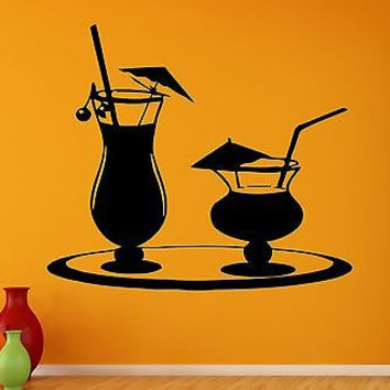 Wall Stickers Vinyl Decal Glasses Cocktail Party Bartender Drink Alcohol (ig860)