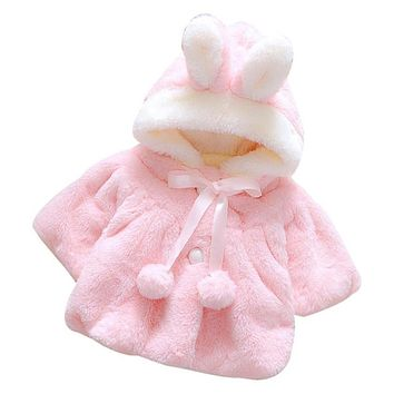 Infant Girls Winter Cute Cloak Coat Korean Style Bow Baby Kids Thick Warm Clothes Newborn Fur Ball Hat Hooded Jacket Jan9