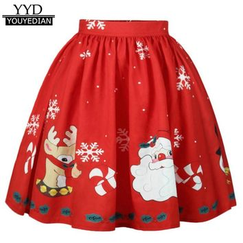 2017 New Arrival Christmas Women's Sexy Skirt Santa Snowflake Printed A-Line Skirts For Women Vestidos Mujder #1125