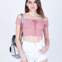 Cropped Lace-Up Tee