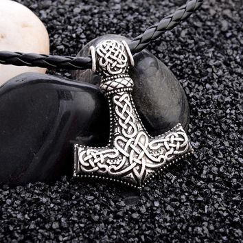 1pcs Norse Vikings Amulet PENDANT Necklaces Hammer Of Thor Mjolnir Pendant Leather Rope Necklaces Animal Knot Viking Jewelry