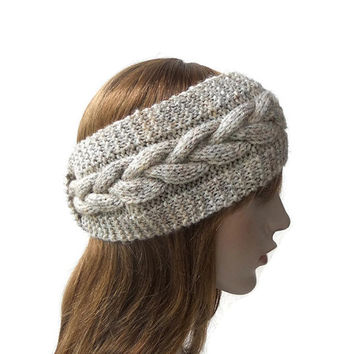 Women's Knitted Headband in Beige Oatmeal,Cable Knit Headband Turban,Bohemian Ear Warmer,Winter Hair Band,Chunky Head Wrap,READY TO SHIP