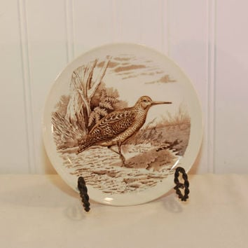 Vintage Copeland Spode England Woodcock No. 9 Bread and Butter Plate (c. 1957) Brown Transferware, Nature, Wild Bird Plate, Collectible