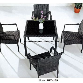 Classic Outdoor Chair Coffee Table Leisure Rattan Garden Set Hot Sale Wicker Beach Hotel Holiday Bar Square Table 4 Chairs Set