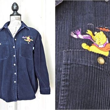 Vintage Pooh shirt / size M / womens 90s Disney / button down corduroy Fall shirt / overshirt / navy blue cord shirt