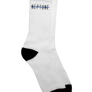 Planet Neptune Text Only Adult Crew Socks