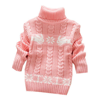 2017 Kids Sweater Baby Boys Girls Sweater Children Autumn Winter Spring Sweater Kids Unisex Turtleneck Sweater