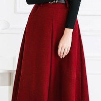 Red Pleat A Line Woolen Midi Skirt