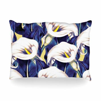 "mmartabc ""Pattern Calla Lily Flower"" Blue Yellow Floral Vintage Illustration Digital Oblong Pillow"
