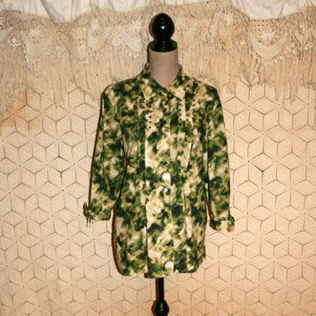 Plus Size Green Print Blouse 3/4 Sleeve Button Up Casual Blouse Cotton Blouse Watercolor Print Pleated Edgy Embellished XL 1X Women Clothing