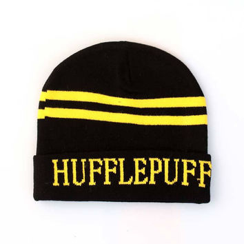 Harry Potter Hufflepuff Knitted Stripped Beanie Preppy Costume Halloween Christmas Gift Black & Yellow Cuffed Skully Hat
