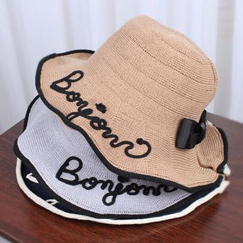 Women Letter Design Summer Beach Paper Straw Bucket Hat Boonie Fisherman Hats,Sun Protection Fishing Bucket Hat Cap For Girl