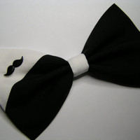 Black and White Mustache Hair Bow hair bow by ClipaBowBoutique