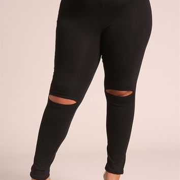 Plus Size Clothing | Plus Size Knee Slit Leggings | Debshops