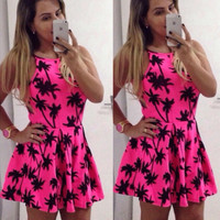 Summer Palm Tree Printed Mini Skater Dress