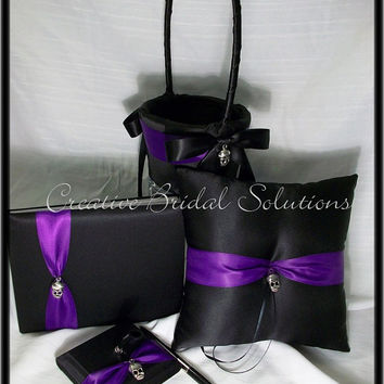 Gothic Wedding Black with Purple Skull Ring Pillow, Flower Girl Basket, Guest Book and Guest Pen- Romona, Goth Wedding