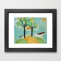 Summer Dog Painting Artist Signed Framed Nature Squirrel Patrol Pets Sunshine Trees Woodland Animals Circles Etsy Kids Home Decor Happiness