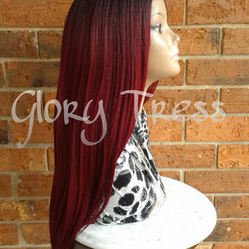 ON SALE// Long & Straight Ombre Lace Front Wig, Ombre Burgundy Wig // POWER (Free Shipping)