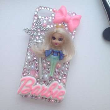 Pink Princess Barbie Mini B  Sparkly Crystallised Bling iPhone 5 Protective Cell Phone Case Cover