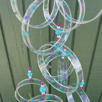 Upcycled wine bottle Wind Chime, Clear glass circle Chime,  purple and teal poke a dots, yard art, Garden Decor