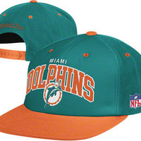 Miami Dolphins Mitchell & Ness Throwback Arch with Logo Snapback Hat