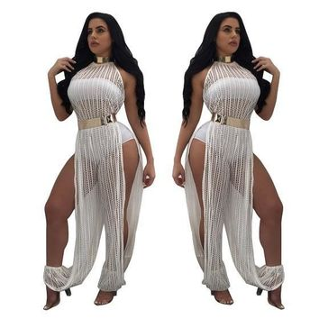 White Lace Side Slit High Waisted One Piece Long Jumpsuit