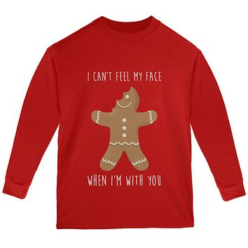 Christmas Gingerbread Man Can't Feel My Face Youth Long Sleeve T Shirt