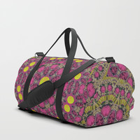 Butterflies  roses in gold spreading calm and love Duffle Bag by Pepita Selles