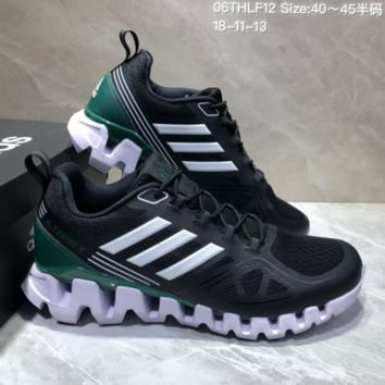 AUGUAU A481 Adidas Terrex High Frequency Breathable TPU Vamp Running Shoes Black Green White