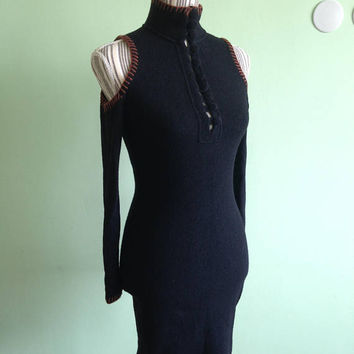 Black Fitted Dress, Cut Out Shoulders, Long Sleeve Dress, Winter Wool Dress, High Neck Dress, Button Up Dress, Bibliko Italia, Stretch Dress