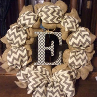 Burlap and chevron initial wreath - spring wreath, summer wreath, fall wreath, monogram, rustic, door decor
