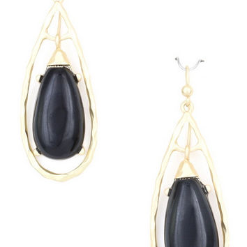 Teardrop Black and Gold Earring - black