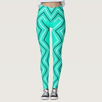 Turquoise color black white chevron zigzag stripe leggings