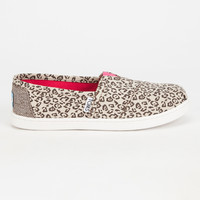 Toms Metallic Canvas Leopard Kids Classic Slip-Ons Multi  In Sizes