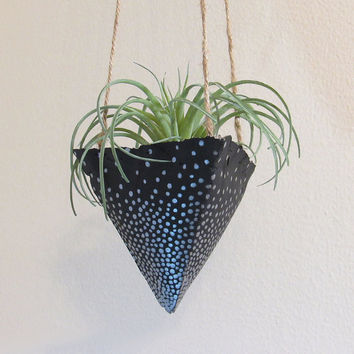 Concrete Planter, Hanging Succulent Planter, Modern Planter, Air Plant Holder, Indoor Planter, Black Planter, Geometric Planter, Plant Pot