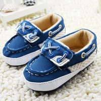 Baby Boy Girl Blue Sneakers Soft Bottom Crib Shoes