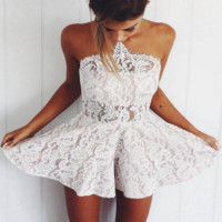 Kinsiey White Lace Detailed Romper