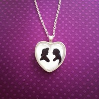 Pocahontas & John Smith Silhouette Heart Necklace Disney Inspired Handmade from SHOW PONY