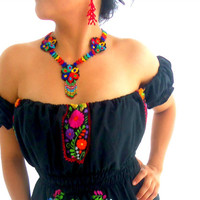 Flores de Ebano off shoulder Mexican Embroidered Dress