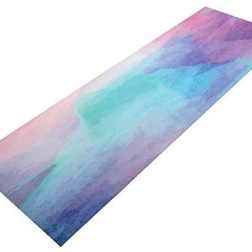 CALLFO High Density PVC Printed Yoga Mat Exercise Non-Slip Mats 72 x 24-Inches Anti-Tear Floor Mat with Carring Strap and Bag