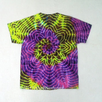 Large Tie Dye Shirt Psychedelic Star- Pink Yellow Brown