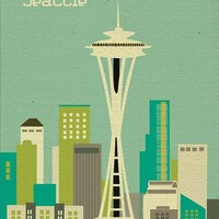 Seattle, Washington Skyline Teal - America Skyline Poster Print - 100% Recycled and Signed by the Artist (Canvas Print also Available)