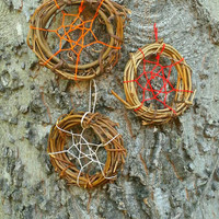 Dream Catcher Ornament - Small Dreamcatcher 3 inch - Red Orange White - Package Topper