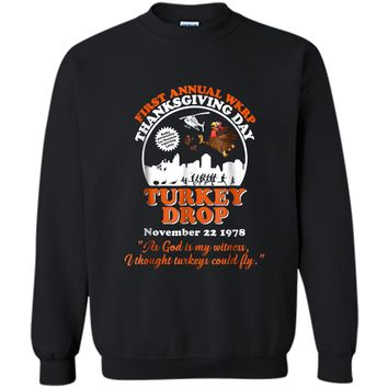 First annual WKRP Turkey Drop with Les-Nessman Funny  Printed Crewneck Pullover Sweatshirt