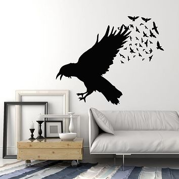 Vinyl Wall Decal Black Raven Crow Flock Of Birds Gothic Style Stickers Mural (g738)