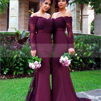Cheap Bridesmaid Dresses Long Sleeves Sweep Train Lace Burgundy Junior Bridesmaid Dress  Off the Shoulder Wedding Guest Dress