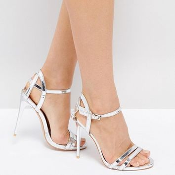 True Decadence Silver Metallic Strappy Heeled Sandals at asos.com